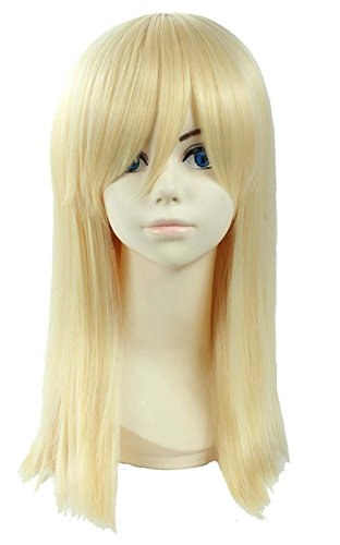 etruke Anime Longue Ligne Droite Costume Party Blond Cosplay Perruques