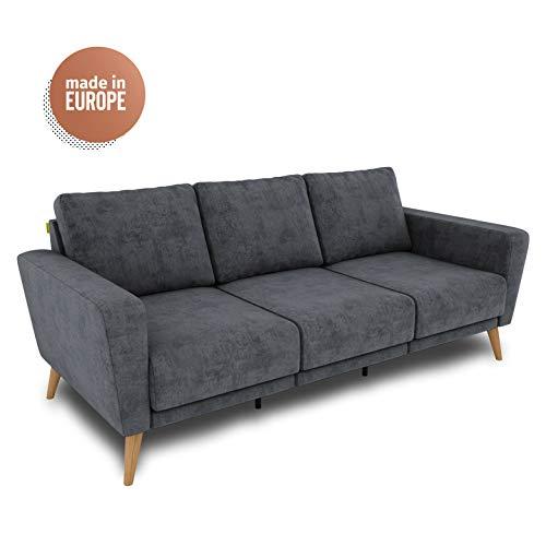 KAUTSCH Hochwertiges 3-Sitzer Sofa grau blau für Wohnzimmer - Couch 3-sitzig - 3-er Polstersofa - Relaxsofa - Stoffsofa