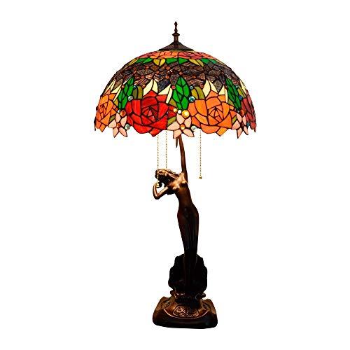 Busirsiz Tiffany Lámpara de Mesa Lámpara clásica Rosa de la lámpara de la Sala Comedor Dormitorio Diámetro 40 cm Altura 76 cm Estilo 2 x E27 zócalo Interior de Tiffany