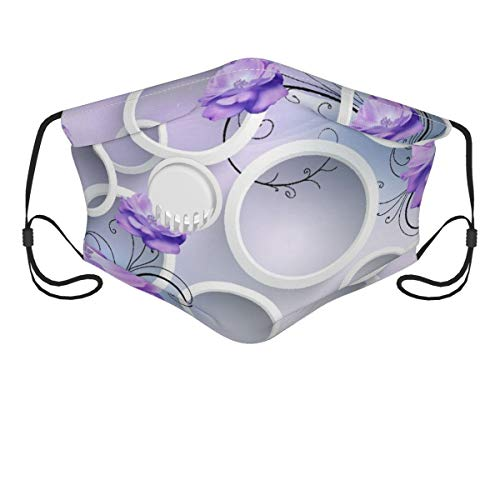 HARXISE Face Cover,3d Illustration Light Background White Rings Purple Flowers,Balaclava Unisex Reusable Windproof Anti Dust Mouth Bandanas Outdoor Camping Motorcycle Running Neck Gaiter