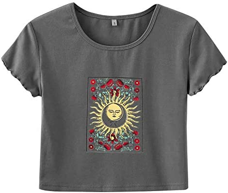 Women s Crop Top Teen Girl Graphic Print Summer Short Sleeve Graphic T Shirts Round Neck product image