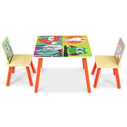 GOPLUS Set Mobili Tavolo e Sedie per Bambini in Legno, Gioco Tavolino con 2 Sgabelli con Designo di Animali Ideale per Soggiorno o Asilo