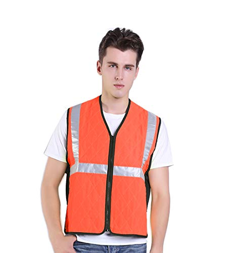 Climafusion Cooling Vest Safety Reflective Ice Vest Running Vest Gear for Summer Night Riding Vest for Women Man for Fishing Cycling Running Cooking (M, HI-VIS Orange)
