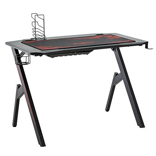 HOMCOM Gaming Tisch Schreibtisch Computertisch Arbeitstisch Möbel für Büro Wohnzimmer Arbeitszimmer, modernes Design, MDF, Metall, 110x58x75 cm, Schwarz+Rot