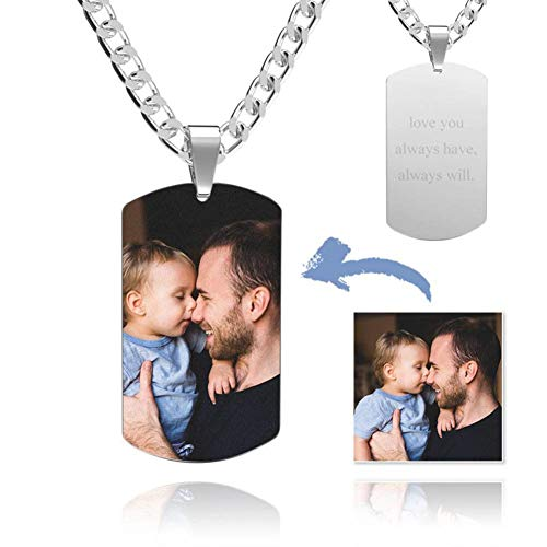 Personalized Photo Necklace for Men Women Customized Dog Tags Cool Mens Necklace Chains with Pendant Free Engraving Stainless Steel Valentine's Day Birthday Gift for Dad Mom Boyfriend Son Kids Pet Dog