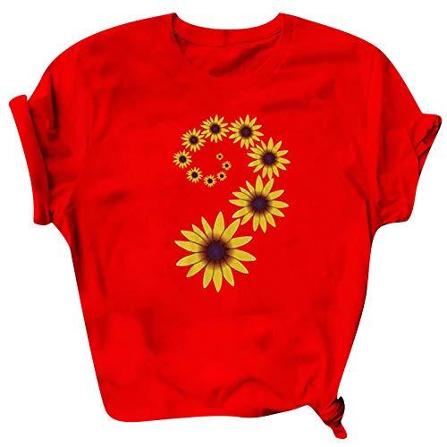 CHMORA La parte superior de las mujeres, Las mujeres de color puro simple de impresión de letra de manga corta suelta casual camiseta blusa para las mujeres