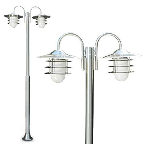 Außenleuchte Rubin, Kandelaber aus Edelstahl modernes Design, mit Lampenschirmen aus Glas, Wegeleuchte 200 cm, Gartenlampe mit 2 x E27-Fassung, je max. 60 Watt, IP44