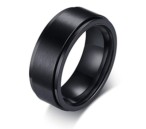 POVANDER 8mm Men's Stainless Steel Spinner Ring Central Black Ion Brushed Finished Wedding Band Fidget Ring,8