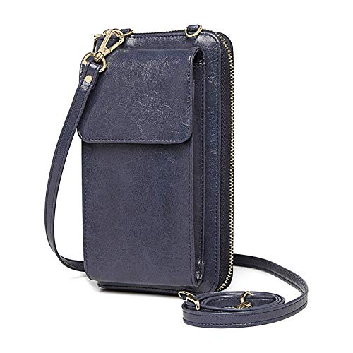 Crossbody Cell Phone Purse for Woman Leather Wristlet Wallet with RFID Blocking Small Crossbody Shoulder Handbag Phone Bag