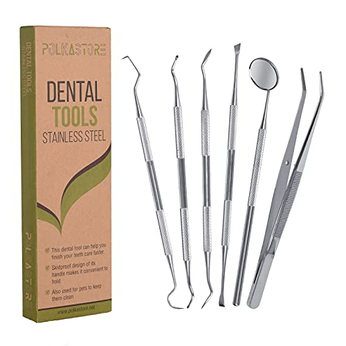 Dental Tools, 6 Pack Teeth Cleaning Tools Stainless Steel Dental Scraper, Scaler Pick Hygiene Set with Mouth Mirror, Tweezer Kit for Dentist, Personal Using, Pets - Tooth Tartar Plaque Scraper Remover