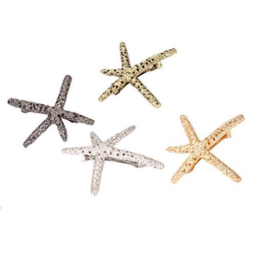 Lurrose 4 unids metal horquillas de estrellas de mar retro pinza de pelo francés Sea Star horquillas pinzas Star Barrettes Styling accesorios para el cabello para mujeres niñas