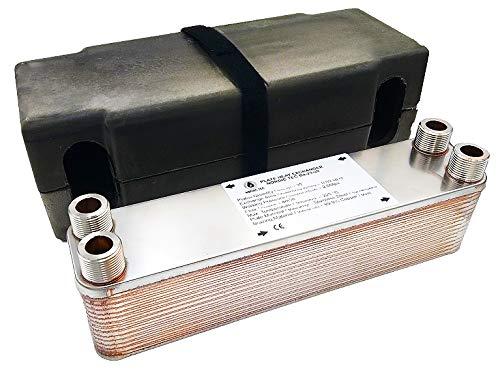Nordic Tec Ba-23-30 - Intercambiador de calor de acero inoxidable (30 placas de 125 kW, 3/4', con aislamiento)