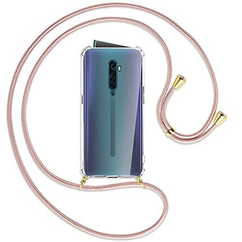 mtb more energy Collana Smartphone per Oppo Reno2 (CPH1907, 6.5  ) - Oro Rosa Oro - Custodia indossabile per Collo - Cover a Tracolla con cordina