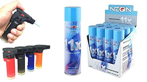 4 Pack Big Eagle Jet Torch Lighter + 12 Cans of Neon 11x Ultra Refined Butane Fuel Lighter Refill Gas Bundle