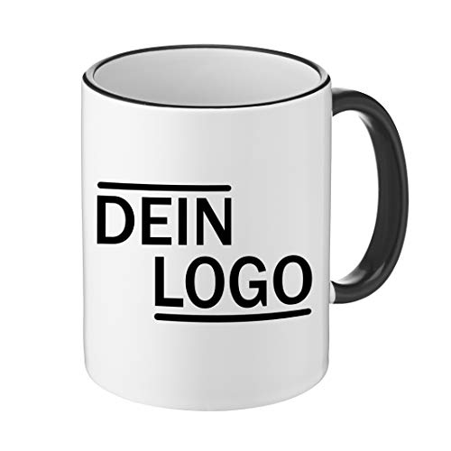 Foto Premio Werbetasse mit Logo   Kaffeetassen mit Logo Bedrucken, Tasse mit Logo in Kleiner Auflage günstig bestellen, Spülmaschinen- und Mikrowellenfest, 300ml Füllmenge (Schwarz, Standard)