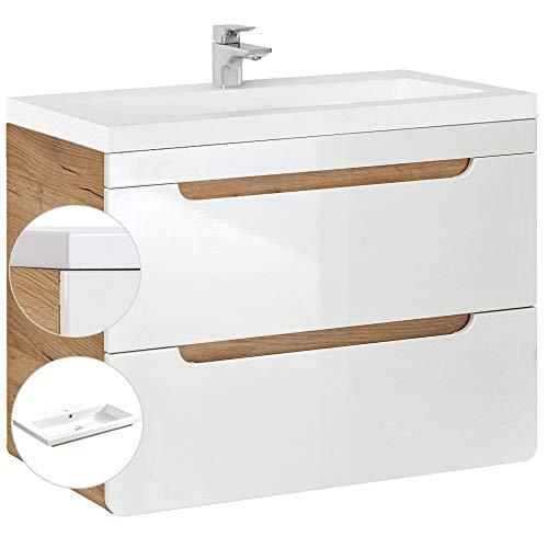Lomadox Badmöbel Waschtisch Set mit 80cm Unterschrank und Keramik Waschbecken, Hochglanz weiß, 2 Softclose-Schubkästen