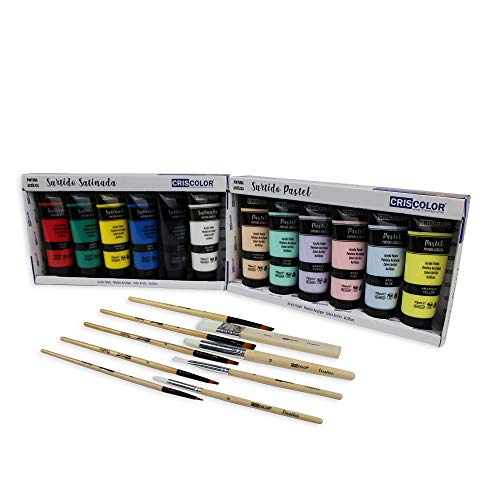 KIT Pinturas Acrílicas 12 x 75ml - Surtido de colores Satinado y...