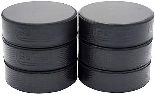 Gufex 6 Stück Herren Eishockey Puck offizieller iihf Spielpuck Farbe Schwarz