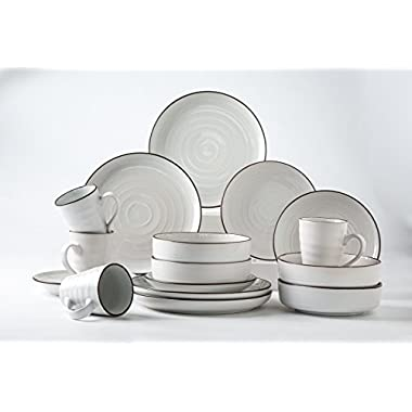 Pangu 16-Piece Porcelain Dinnerware Set, WESTERN, White, Service for 4 (16 piece)