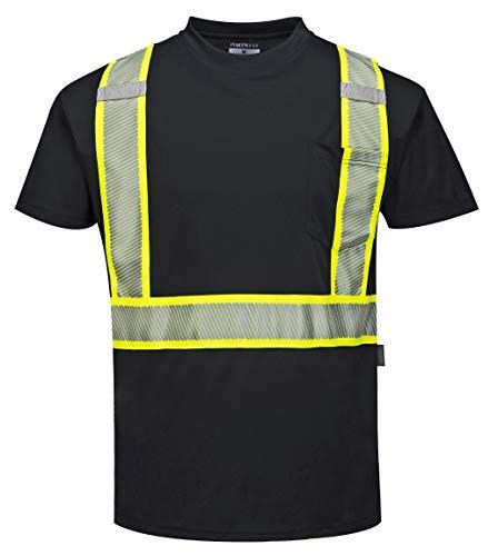 Portwest Iona Xtra Short Sleeved T-Shirt, Black, XX-Large