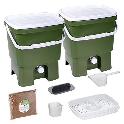 Skaza Bokashi Organko Set (2 x 16 L) 2X Garten- und Küchenkomposter aus Recyceltem Kunststoff | Starterset mit Fermentationsaktivator Bokashi Organko 1 kg (Olive-Weiß)