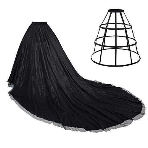 Falda de satén para novia con tren largo completo y falda de tul de enaguas para boda longitud 85' cintura 27.55 '-47.24',  Negro, Talla única