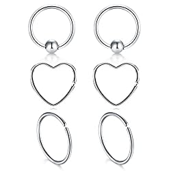 "Package includes:2 Pcs heart Rings, 2 Pcs fake captive rings and 2 Pcs simple rings, mit your different needs Classic design fit for Daith, Cartilage, and other Ear Piercings, can also as nose piercing ring and lip ring Size:20G gauge thickness,3/8""(..."