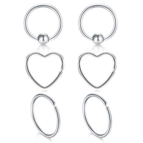 JFORYOU Daith Rook Snug Tragus Piercing Earrings Stainless Steel 20G Heart-Shaped Ear Cartilage Ring Body Jewelry