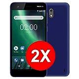 TBOC 2X Custodia Gel TPU Blu per Nokia 2 (5.0 Pollici) [Pack 2 unità] in Silicone Ultra Sottile e Flessibile