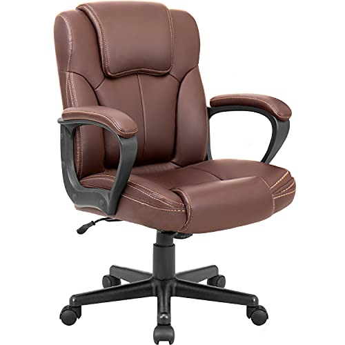 Pawnova Executive Office Chair Mid Back Swivel Computer Task Armrests,Ergonomic Leather-Padded Desk Seats with Lumbar Support, Brown