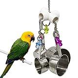LANSONTECH Juguete de masticación de aves Juguete de swing con sartén de metal Sonido dulce para pájaro loros guacamayos gris africano Budgie jaula juguete accesorios