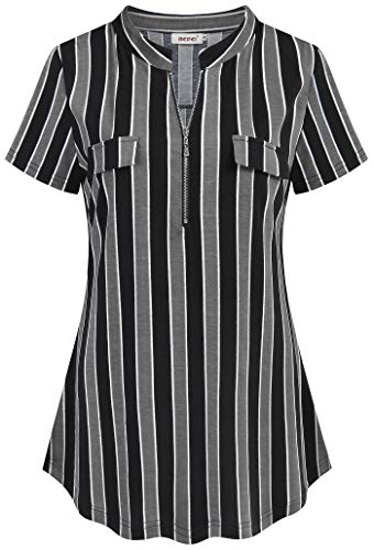 BEPEI Women Tops and Blouses,Ladies Fashionable Half Zip Low Vneck Semi Formal Professional Henley Shirt Female Cozy Form-Fitting Stripes Tunic Career Work for Dress Pants Black Grey Large