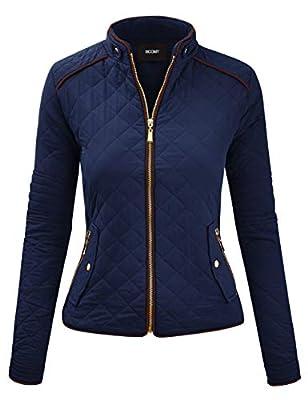 FASHION BOOMY Women's Quilted Padding Vest - Lightweight Zip Up Jacket - Regular and Plus Sizes Medium J-Navy