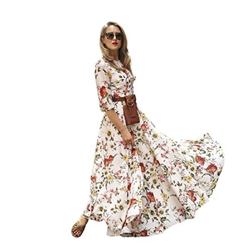 klänning Boho blommor klänning blommor dam sommar strand kväll fest semester långa damer sommar klänning damer maxi Böhmen (Color : Multi-colored, Size : M)