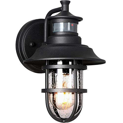 Untrammelife Outdoor Wall Sconce with Dusk to Dawn Photocell PIR Motion Activated Sensor, 1-Light Matte Black Outdoor Wall Light Fixture with Seeded Glass Shade for Entryway Porch Garage