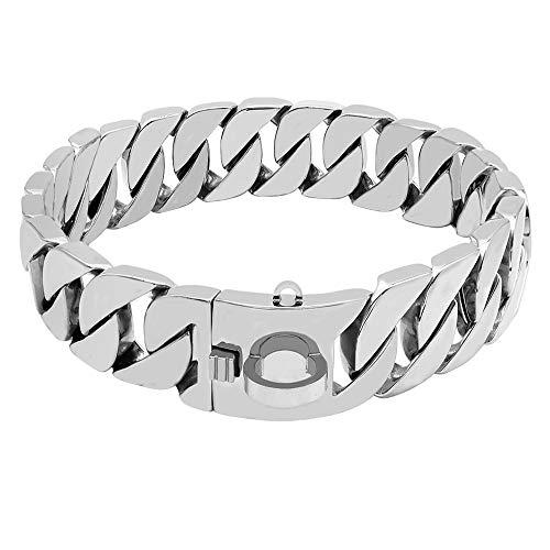 XYBB Hundehalsband Starkes Metall Hundekettenhalsband Halsband für große Hunde Pitbull Bulldog Silber Gold Show Halsband