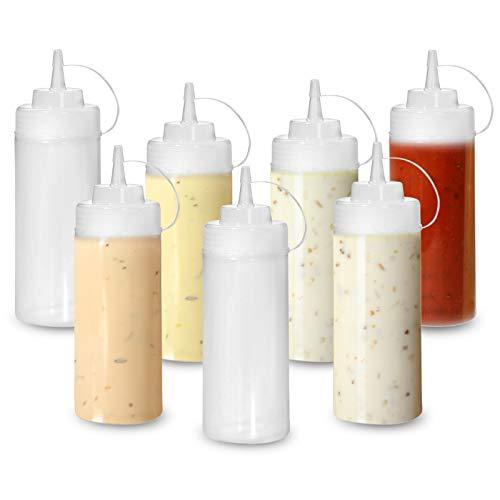 Matana 8 Biberon Salsas con Tapa, Dispensador de Botellas de Plástico - 340ml