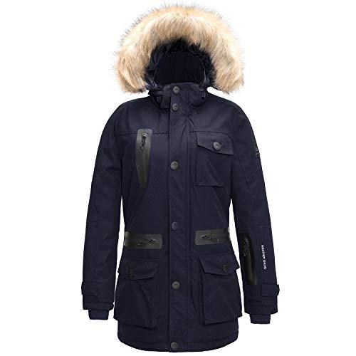 SwissWell Damen Parka warme Winter Jacke Kapuzenpullover Fliegerparka Sherpa Mantel Skijacke Winddicht Wasserdicht Atmungsaktiv mit abnehmbare Fellkapuze Navy M