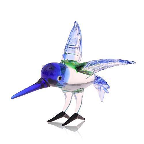 Flanacom Glasfigur aus Handarbeit - Designer Tierfigur aus Glas - Miniatur Glastier Dekofigur - als Vitrinen oder Fenster Deko (Kolibri)