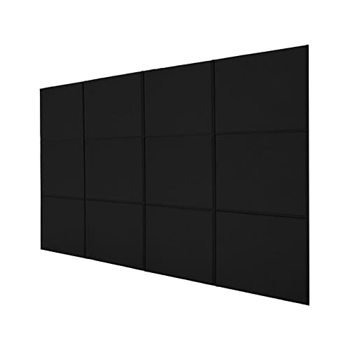 BQLZR 30x30x2.5cm Black A Type Fiberglass Acoustic Home Studio Soundproof Sound Absorbing Panel Tiles Pack of 12