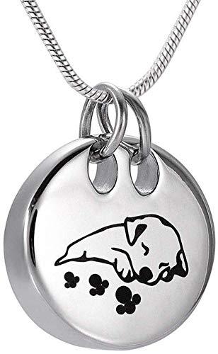 YXYSHX Collar de cremación para Mascotas con Perro Durmiente Encantador, Colgante de urna de Cenizas conmemorativas, Recuerdo de joyería + Servicio de Grabado Gratuito-A