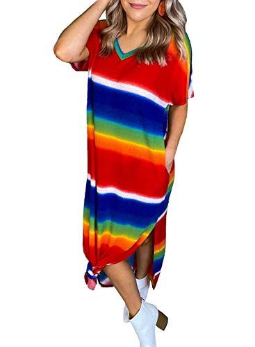 LOSRLY Vestido de playa casual de manga corta con cuello en V de color arcoíris para mujer