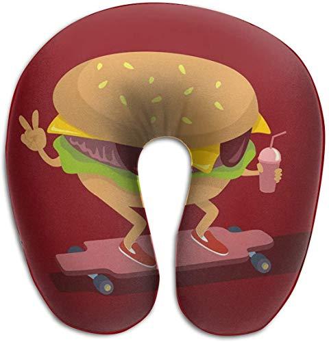 Nackenkissen aus Memory-Schaum, Burger-Skating auf Longboard, U-Form, Reisekissen, ergonomisches konturiertes Design, waschbarer Bezug für Flugzeug, Zug, Auto, Bus, Büro