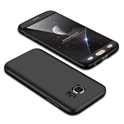 Homikon 360 Grad Hart PC Hülle 3 in 1 Komplettschutz Tasche Plastik Handyhülle mit Tempered Glas Panzerglas Ganzkörper-Koffer Schutzhülle Kompatibel mit Samsung Galaxy S6 Edge - Schwarz
