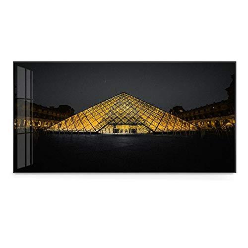 SYLSBAZGYS Increíble pirámide de Cristal Dorado del Louvre en Carteles de la Ciudad en Blanco y Negro Imágenes artísticas de Pared para Sala de Estar Dormitorio Pintura en Lienzo Sin Marco-D_50x100cm