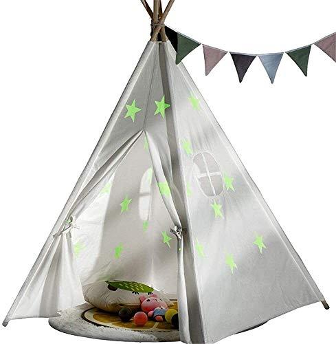 Schattig Zhoumei Daily Life Play Tent Personality Druk van de Ster Fotografie Eco-vriendelijke Foldable Cotton Canvas Teepee Tent Indian Playhouse Children's For Meisjes Jongens Babies Kleine (Kleur: