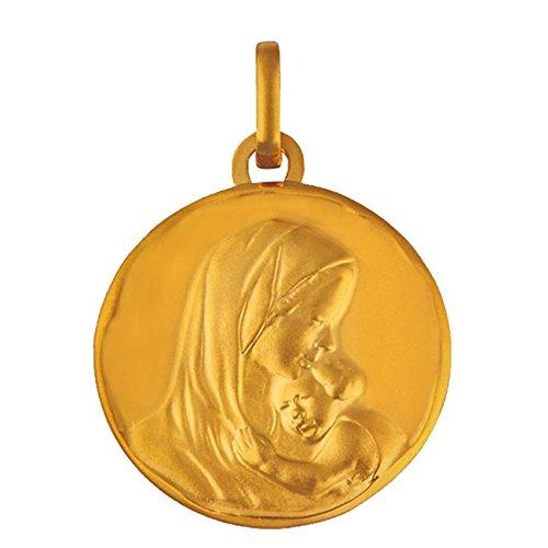Medalla de bautizo Virgen con el niño con borde y sello, oro de 18quilates