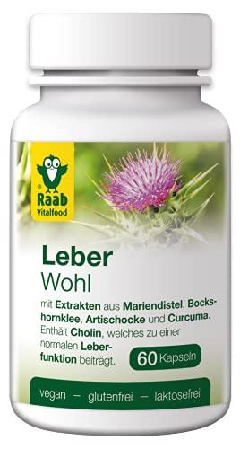 Raab Vitalfood Leber Komplex, Nahrungsergänzungsmittel mit Pflanzenextrakten und Cholin, vegan, glutenfrei, laktosefrei (1 x 60 Kapseln), 60 Stück, 9102