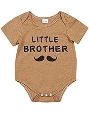 الوليد عارضة أخي الصغير رسالة رومبير الرضع قصيرة الأكمام جولة الرقبة playsuit بالجملة (Color : Khaki, Kid Size : 6M)