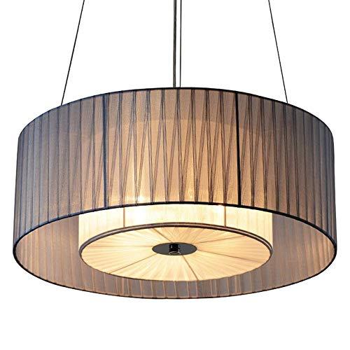 Luce a sospensione moderna Modern Double Drum Round Lampadari regolabili Lampadari Soggiorno Metti in tessuto a mano GUIDATO Pendente in tessuto leggero ombra luci pendenti sala da pranzo lampada da s